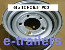 "12"" 6Jx12H2 MEFRO Trailer Wheel 5 Stud 6.5"" PCD FOR IFOR WILLIAMS & 185 195 60 12 TYRES"
